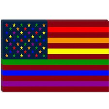 <strong>iCanvasArt</strong> American Rainbow Flag, Gay Lesbian Rights Canvas Wall Art