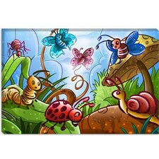 <strong>iCanvasArt</strong> Cartoon Bugs Children Art Canvas Wall Art