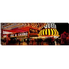 Casino Lit up at Night, Four Queens Canvas Wall Art