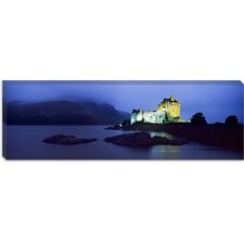 Castle Lit up at Dusk, Eilean Donan Castle, Scotland Canvas Wall Art