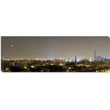 Buildings in a City Lit up at Night, Pilsen, Chicago, Illinois Canvas Wall Art