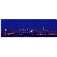 Buildings in a City Lit up at Night, upper Manhattan, Manhattan, New York City, New York State Canvas Wall Art