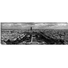 <strong>iCanvasArt</strong> Aerial View of a City, Eiffel Tower, Paris, Ile-De-France, France Canvas Wall Art