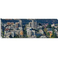 <strong>iCanvasArt</strong> Aerial View of Russian Hill, Lombard Street and Crookedest Street, San Francisco, California Canvas Wall Art