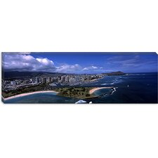 <strong>iCanvasArt</strong> Aerial view of Ala Moana Beach Park, Waikiki Beach, Honolulu Hawaii Canvas Wall Art