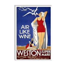 <strong>iCanvasArt</strong> Air Like Wine (Weston Super Mare) Advertising Vintage Poster