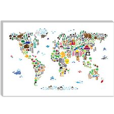 """Animal Map of The World"" Canvas Wall Art by Michael Thompsett"