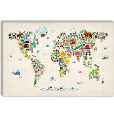 "<strong>iCanvasArt</strong> ""Animal Map of The World"" Canvas Wall Art II by Michael Thompsett"