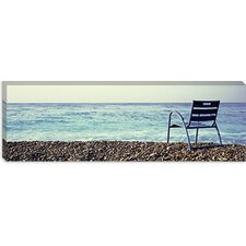 Vacant Chair on The Beach, Nice, Cote De Azur, France Canvas Wall Art