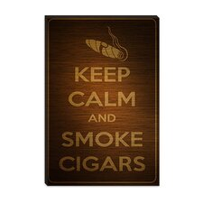 <strong>iCanvasArt</strong> Keep Calm and Smoke Cigars Canvas Wall Art