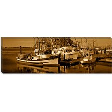 <strong>iCanvasArt</strong> Fishing Boats in the Sea, Morro Bay, San Luis Obispo County, California Canvas Wall Art