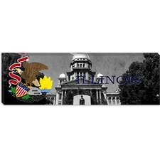 <strong>iCanvasArt</strong> Illinois Flag, Capitol Building Panoramic Canvas Wall Art