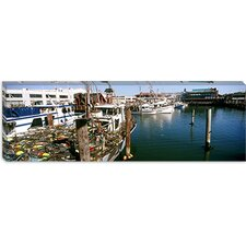 <strong>iCanvasArt</strong> Fishing Boats at a Dock, Fisherman's Wharf, San Francisco, California Canvas Wall Art