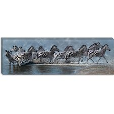 "<strong>iCanvasArt</strong> ""Flight of the Zebras"" Canvas Wall Art by Pip McFarry"