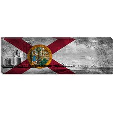 <strong>iCanvasArt</strong> Florida Flag, South Beach, Grunge Vintage Map Panoramic Canvas Wall Art