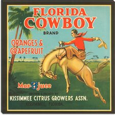 <strong>iCanvasArt</strong> Florida Cowboy Oranges and Grapefruit Vintage Crate Label Canvas Wall Art