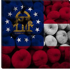 Georgia Flag, Peaches Wood Boards Canvas Wall Art