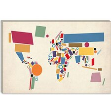 "<strong>iCanvasArt</strong> ""Geometric World Map Abstract"" Canvas Wall Art by Michael Thompsett"