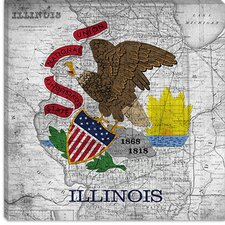<strong>iCanvasArt</strong> Illinois Flag, Map Canvas Wall Art