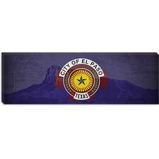 <strong>iCanvasArt</strong> El Paso Flag, Guadalupe National Park with Grunge Panoramic Canvas Wall Art