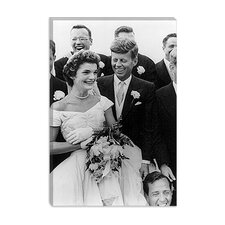 "<strong>iCanvasArt</strong> ""File John and Jackie Kennedy Wedding"" Canvas Wall Art by Toni Frissell"