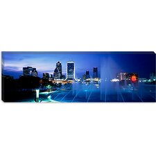 <strong>iCanvasArt</strong> Fountain, Cityscape, Night, Jacksonville, Florida Canvas Wall Art