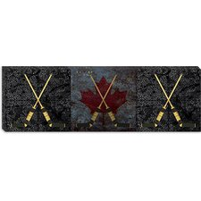 <strong>iCanvasArt</strong> Hockey Sticks Panoramic Canvas Wall Art