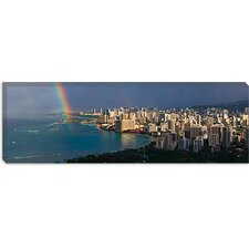 <strong>iCanvasArt</strong> Honolulu Panoramic Skyline Cityscape (Rainbow) Canvas Wall Art