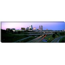 Highway Interchange and Skyline at Sunset, Kansas City, Missouri Canvas Wall Art