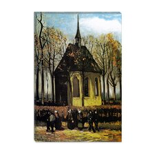 """Congregation Leaving the Reformed Church in Nuenen"" Canvas Wall Art by Vincent van Gogh"