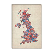 "<strong>iCanvasArt</strong> ""Great Britain UK City Text Map III"" Canvas Wall Art by Michael Thompsett"