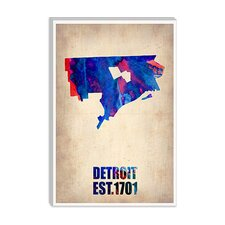 "<strong>iCanvasArt</strong> ""Detroit Watercolor Map"" Canvas Wall Art by Naxart"