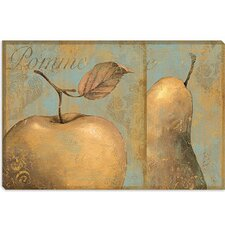 "<strong>iCanvasArt</strong> ""Delicious (Apple and Pear)"" Canvas Wall Art by Daphne Brissonnet"