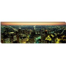 <strong>iCanvasArt</strong> Buildings Lit Up at Night, Detroit, Michigan Canvas Wall Art