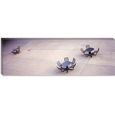 Tables And Chairs in a Park, San Jose, California Canvas Wall Art