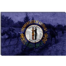 <strong>iCanvasArt</strong> Kentucky Flag, the Kentucky Derby with Paper Grunge Canvas Wall Art