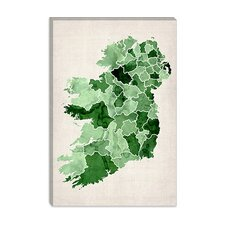 """Ireland Watercolor Map"" Canvas Wall Art by Michael Thompsett"