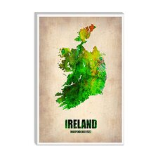 """Ireland Watercolor Map"" Canvas Wall Art by Naxart"
