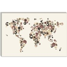 "<strong>iCanvasArt</strong> ""Flower World Map (Sepia)"" Canvas Wall Art by Michael Thompsett"