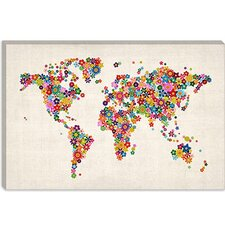 "<strong>iCanvasArt</strong> ""Flowers World Map"" Canvas Wall Art by Michael Thompsett"