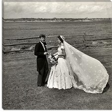 <strong>iCanvasArt</strong> John F. Kennedy and Jacqueline Bouvier Kennedy on their Wedding Day Canvas Wall Art