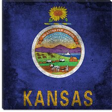 <strong>iCanvasArt</strong> Kansas Flag, Paper Grunge Canvas Wall Art