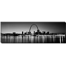 <strong>iCanvasArt</strong> City Lit up at Night, Gateway Arch, Mississippi River, St. Louis, Missouri Canvas Wall Art