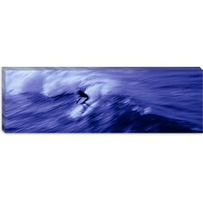 High Angle View of a Person Surfing in the Sea Canvas Wall Art