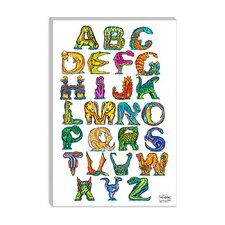 "<strong>iCanvasArt</strong> ""Dinosaur Alphabet"" Canvas Wall Art by David Russo"