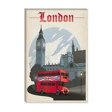 <strong>iCanvasArt</strong> Double Decker - London, England Canvas Wall Art