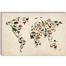 "<strong>iCanvasArt</strong> ""Dinosaurus Map of the World III"" Canvas Wall Art by Michael Thompsett"