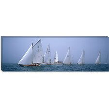 <strong>iCanvasArt</strong> Yachts Racing in the Ocean,  Annual Museum of Yachting Classic Yacht Regatta, Newport, Newport County, Rhode Island Canvas Wall Art