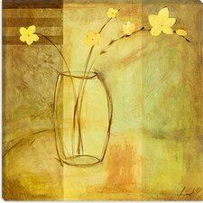 "<strong>iCanvasArt</strong> ""Yellow Flowers in Vase"" Canvas Wall Art by Pablo Esteban"