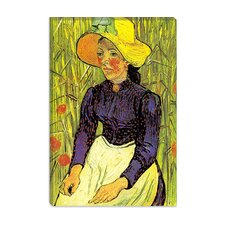 """Young Peasant Woman with Straw Hat Sitting in Front of a Wheat Field"" Canvas Wall Art By Vincent van Gogh"